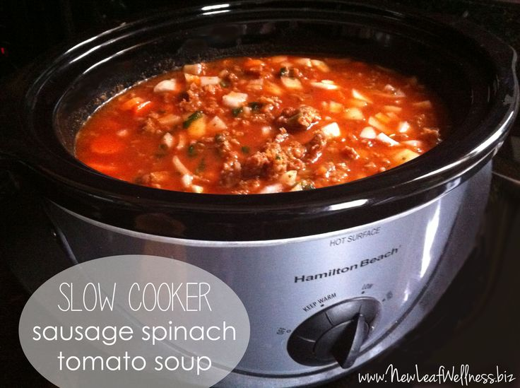 Slow cooker sausage spinach tomato souprecipe.  Super easy to make and delicious.  One of my favorite soups EVER. #recipes