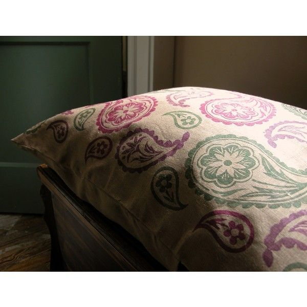 Delightful Big Paisley Hand Block Printed Purple Cranberry Olive Green On Brown... ($68 Nice Look