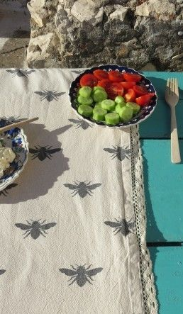 The Bees Reverie Bee Table Cloth Drop ClothsBees KneesKitchen TablesKitchen ItemsHoney