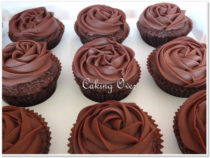 Chocolate mud cupcakes with peanut butter filling by Caking Over