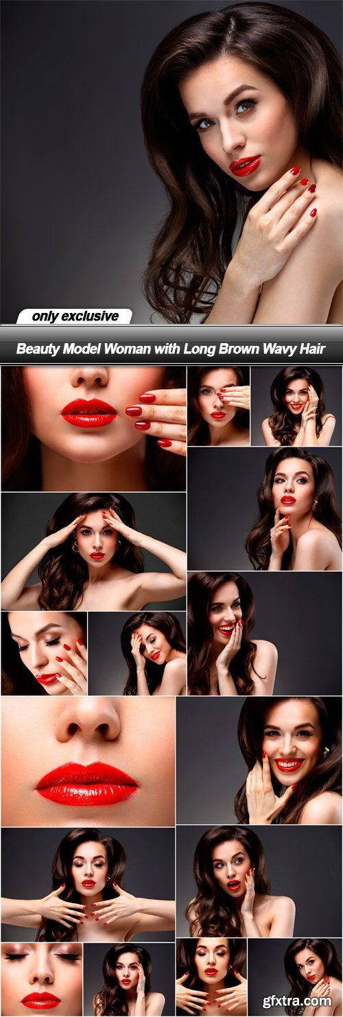 Beauty Model Woman with Long Brown Wavy Hair - 17 UHQ JPEG