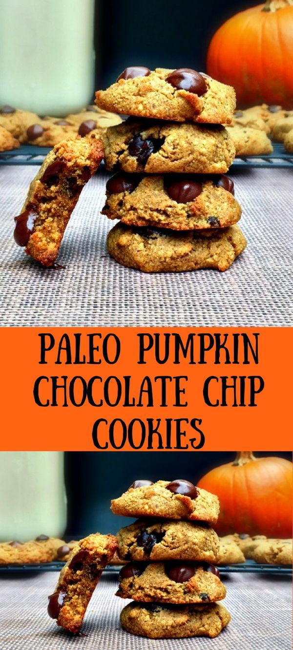 Paleo Pumpkin Chocolate Chip Cookies #paleo #glutenfree #dairyfree #pumpkincookies #chocolatechipcookies