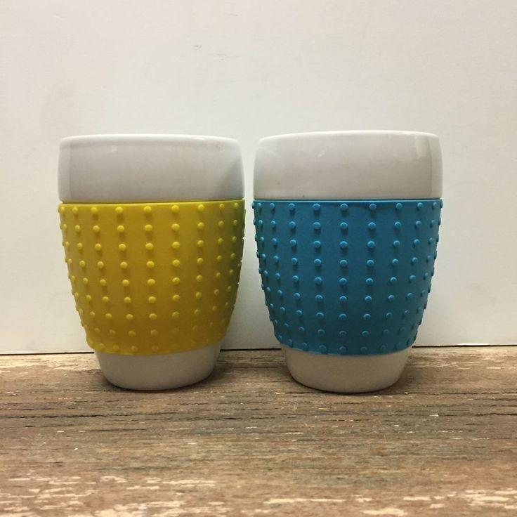 Bodum Pavina 13 5 Oz Silicone Grip Porcelain Ceramic Cups 1 Cylipso Blue 1  Yello  