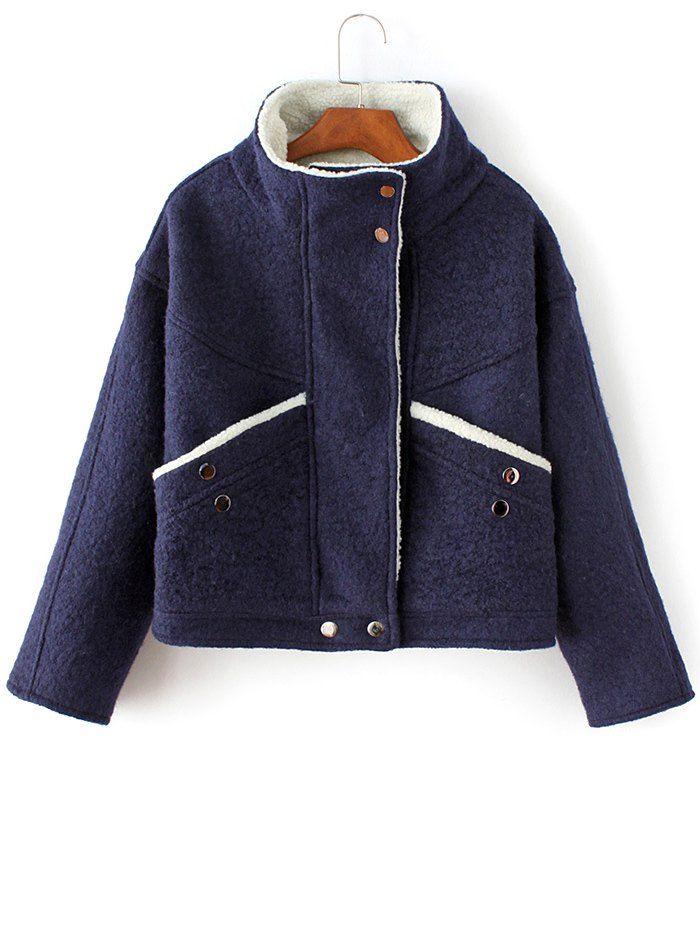 Wool Blend Borg Collar Jacket - PURPLISH BLUE L