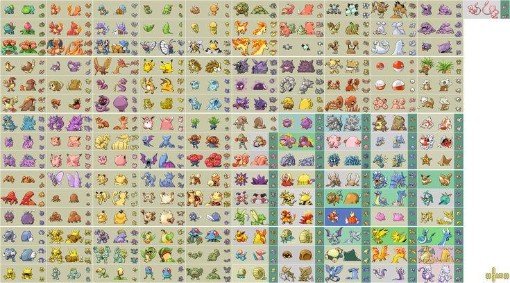 Pokemon Fire Red/Leaf Green - Kanto Pokemon Sprite Sheet
