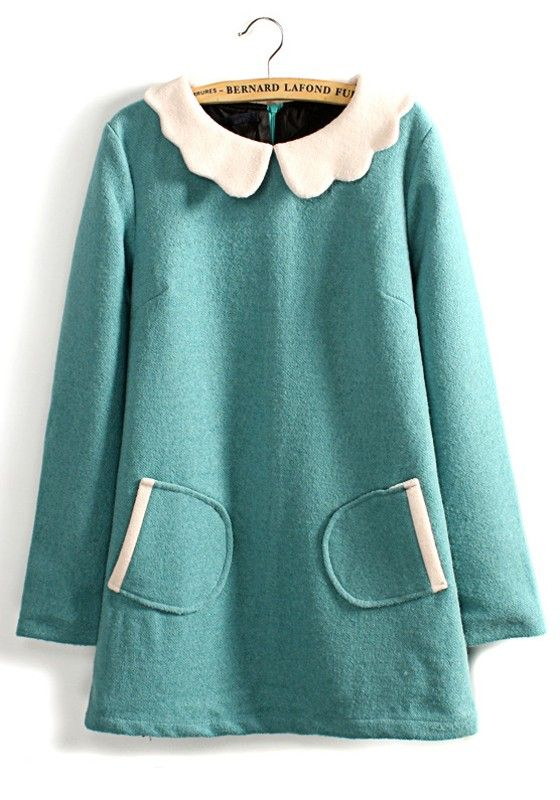 Blue Peter Pan Collar Long Sleeve Wool Dress