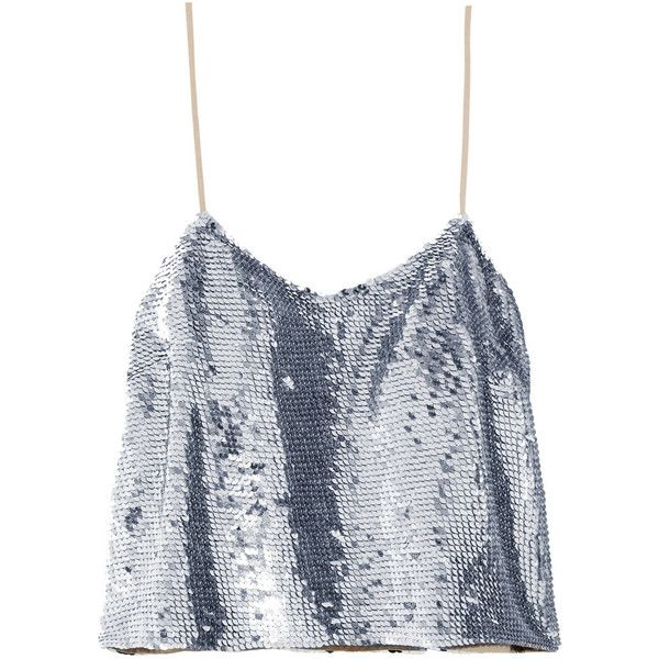 Ashish Cropped sequined silk-georgette camisole ($675) ❤ liked on Polyvore featuring tops, crop tops, ashish, shirts, crop top, spaghetti strap shirt, sequin cami top, camisole tops and spaghetti strap top