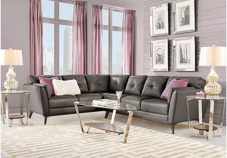 Sofia Vergara Gabriele Gray 2 Pc Leather Sectional-Living Room Sets (Gray)