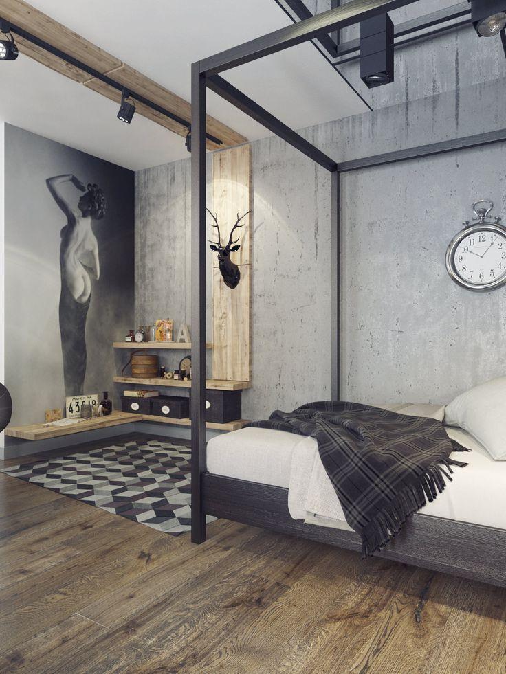 спальня в квартире-студии в стиле лофт