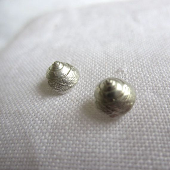 Solid Silver Handmade Winkle Shell Ear Studs by CharlotteBezzant, £35.00