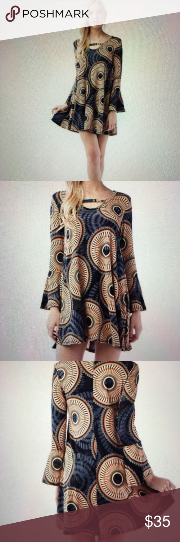 Bohemian chic dress S M L COMING SOON A fun fresh bohemian tunic dress in charcoal rust. Love it  92% polyester 8% Spandex. Made in the USA  comes in S M and L 03052017105098 Dresses Mini