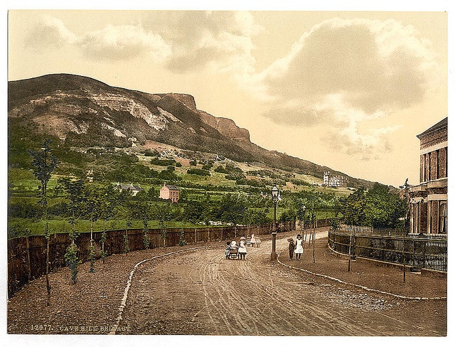 "Cave Hill. Belfast. [between ca. 1890 and ca. 1900]. 1 photomechanical print : photochrom, color.  Title from the Detroit Publishing Co., catalogue J--foreign section. Detroit, Mich. : Detroit Photographic Company, 1905..  Print no. ""12077"".  Forms part of: Views of Ireland in the Photochrom print collection.  From the Library of Congress photostream. People see Cave Hill as the profile of a man lying on his back - the sticking up bit is called Napoleon's Nose."