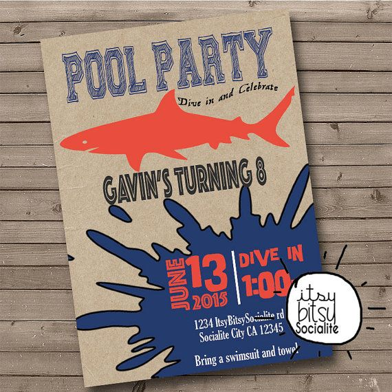Hey, I found this really awesome Etsy listing at https://www.etsy.com/listing/227814007/custom-pool-party-invitation-shark