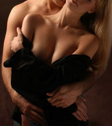 Lovers kissing and hugging, passionate stock photo