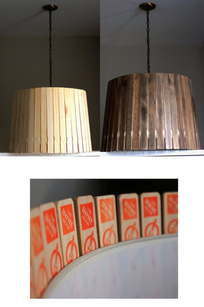 Paint stick lamp shade. Could use scrap sticks of wood from your wood pile.
