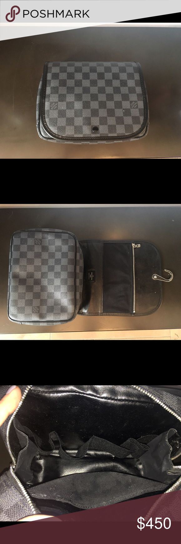 Louis Vuitton Toiletry Case Black and grey checker print zippered toiletry case with hanger Louis Vuitton Bags Cosmetic Bags & Cases