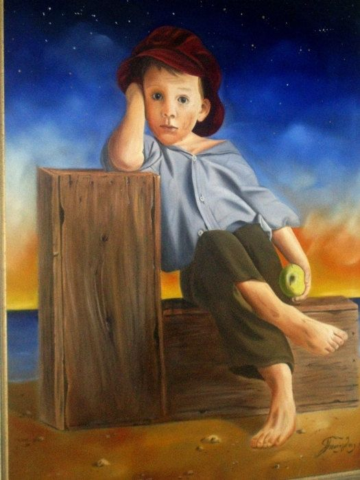 Portrait  of  little boy with apple  , Original handmade oil painting on canvas. 60x80cm, 23,6x31