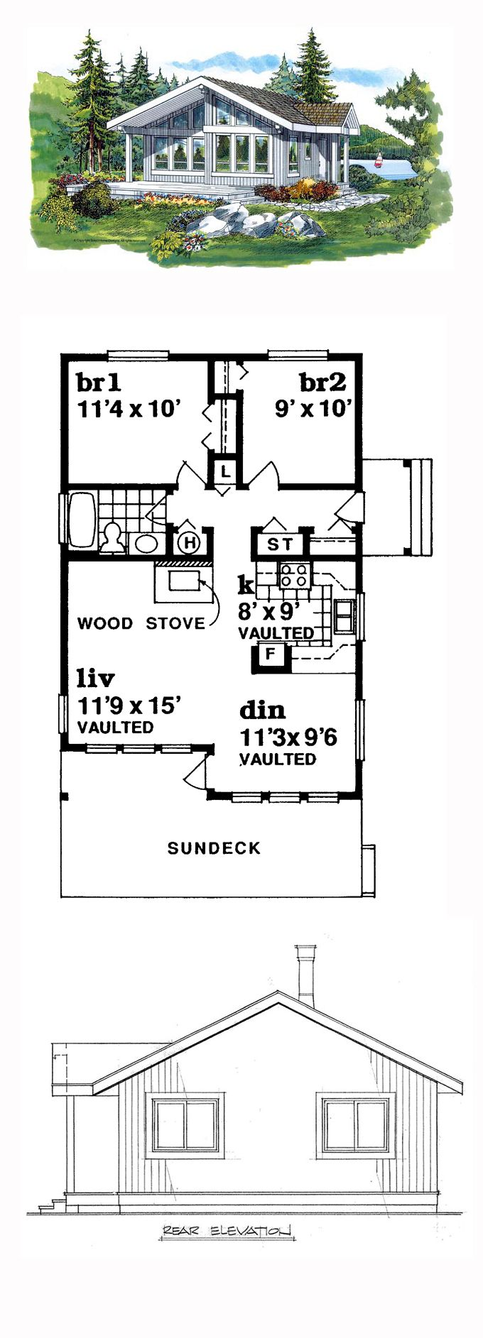 Contemporary House Plan 55328 | Total Living Area: 817 sq. ft., 2 bedrooms and 1 bathroom. #contemporaryhome