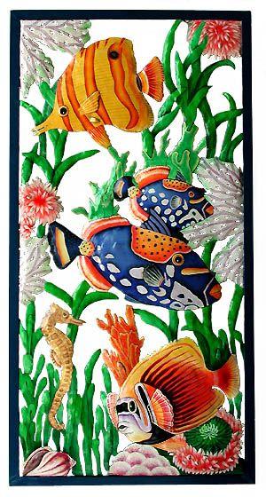 Large Hand Painted Tropical Fish Wall Panel - 17 x 35   * Hand Painted Steel Drum Art of Haiti   - Coastal Decor – Island Style - Beach Decor - Nautical Decor -  Tropical Decor- More tropical design ideas can be found at www.TropicDecor.com