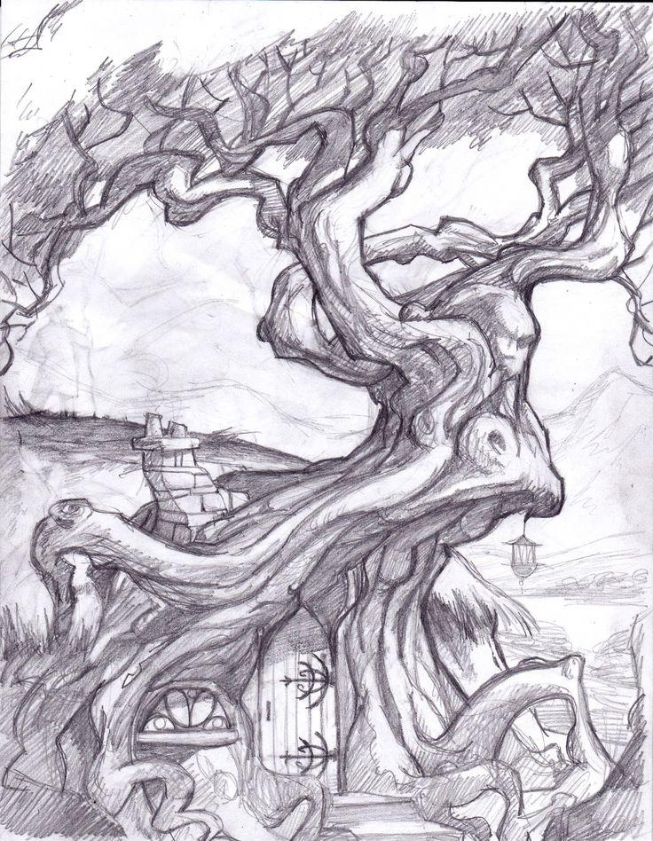 ежи сказочное дерево рисунки карандашом возможность позволяет