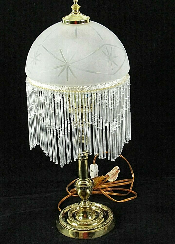 Beaded Table Lamp Vintage Glass Brass Electric 19 Library Bedroom Office Vintage Table Lamp Lamp Victorian Clocks