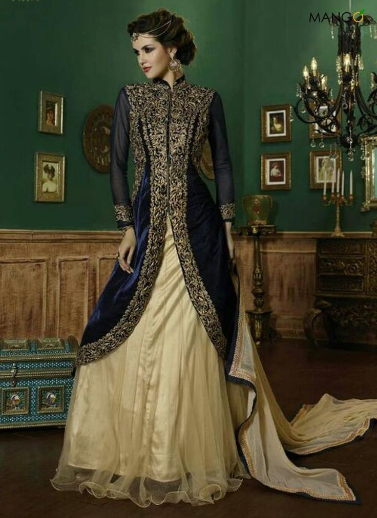 If you are looking to buy lehenga choli. Browse our collection of lehenga choli online and grab it at the best price. Order this resplendent navy blue a line lehenga choli.