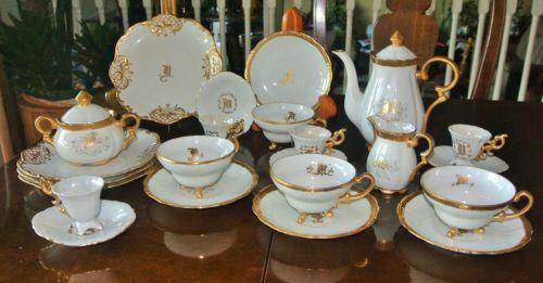 Winterling-Paste-Gold-Encrusted-Tea-pot-Set-4-25-Pc-Monogram-Initial-039-M-039-Creamer