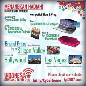 #LombaVLOG #IndonesiaGuncangDunia #Cyberhome Kompetisi Vlog Indonesia Guncang Dunia 2017 Hadiah Utama Perjalanan ke Amerika Serikat  DEADLINE: 24 Mei 2017  http://infosayembara.com/info-lomba.php?judul=kompetisi-vlog-indonesia-guncang-dunia-2017-hadiah-utama-perjalanan-ke-amerika-serikat