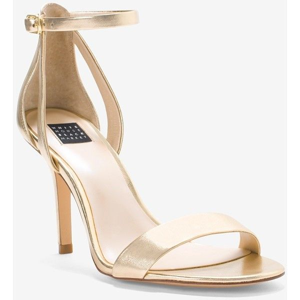 White House Black Market Gold Strappy Mid-Heel Sandals ($88) ❤ liked on Polyvore featuring shoes, sandals, strap high heel sandals, strappy sandals, golden shoes, strappy high heel sandals and high heeled footwear