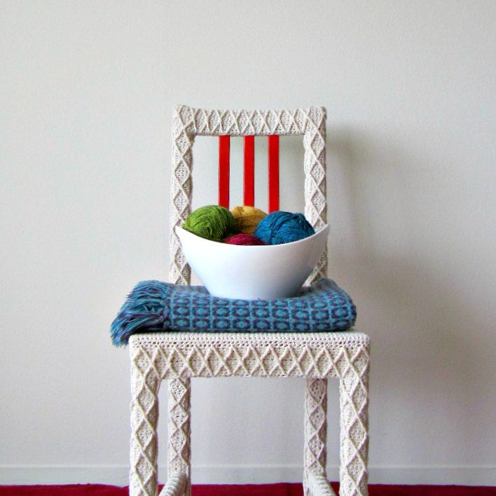 White Accent Chair Home Office Chair Upcycled Furniture Crochet Home Decor Eco Friendly Fiber Art By Knits For Life