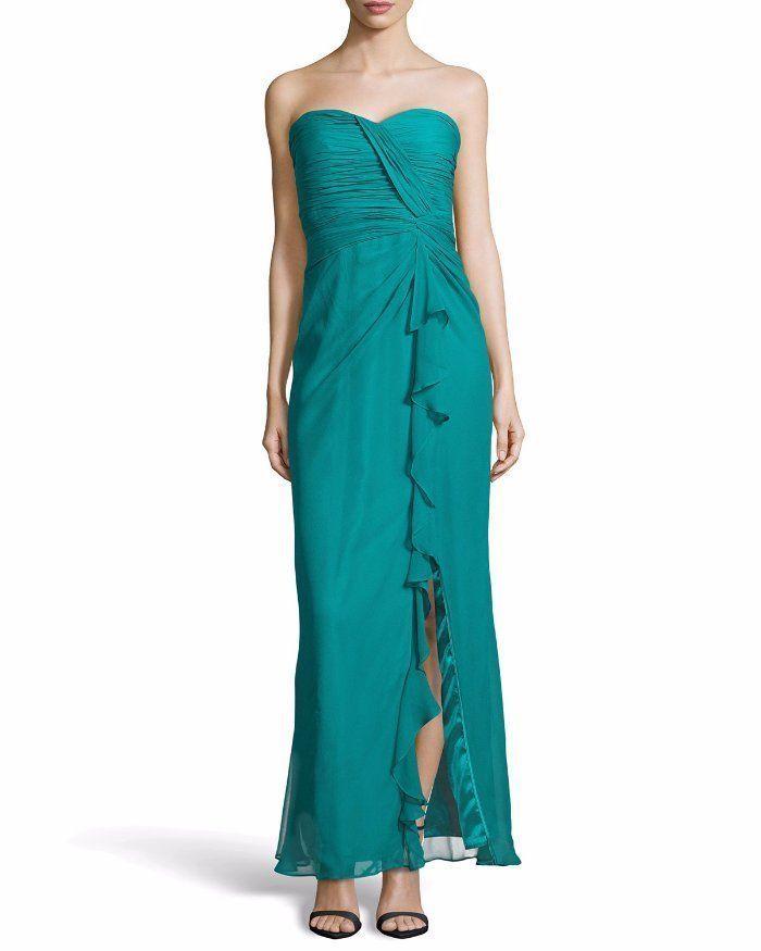 $375 Aidan Mattox Cerulean Green Shirred Strapless Silk Ruched Gown 10 NWT A784 #AidanMattox #BallGown #Formal