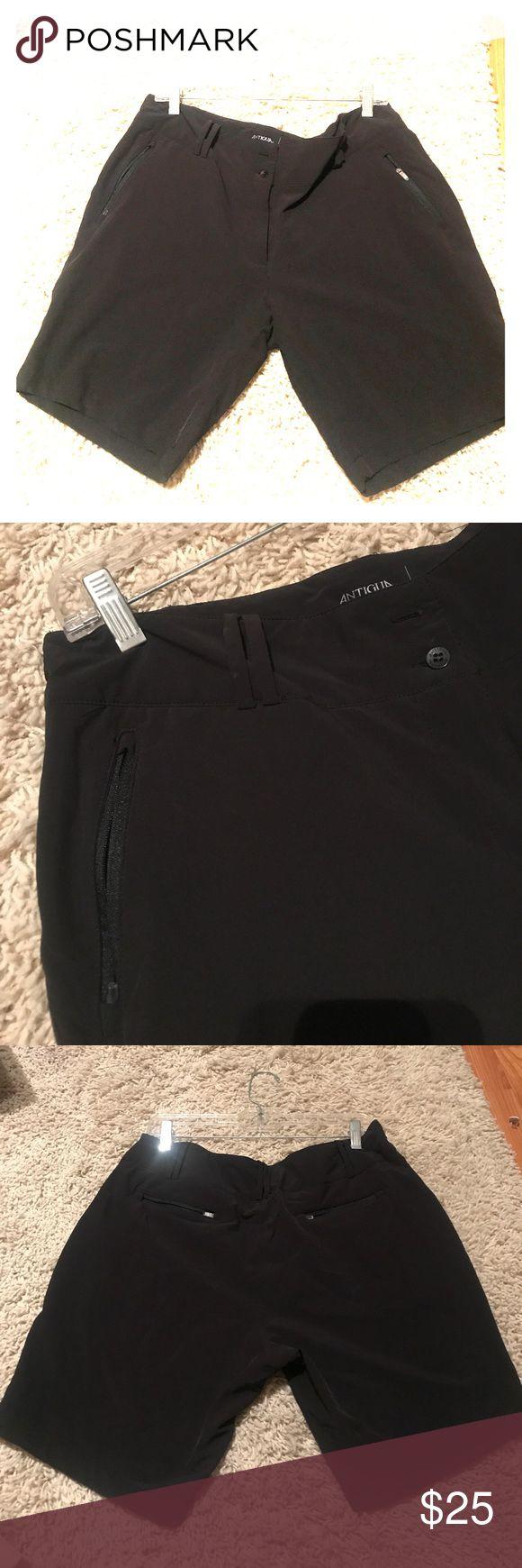 Antigua Bermuda golf shorts ( new) Brand new never worn black womens golf Bermuda shorts. Polyester blend allows for stretch. 2 back zipper pockets. 2 front zipper pockets. Belt loops. High quality Antigua . Antigua Shorts Bermudas
