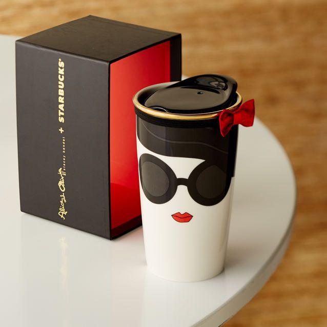 Alice + Olivia Double Wall Traveler Mug - Stace Face, 12 fl oz | Esto llevará mi moca blanco a otro puñetero nivel