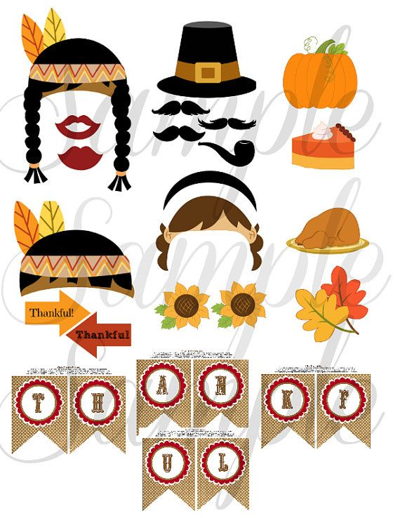 THANKSGIVING 26 piece Photo Booth Props