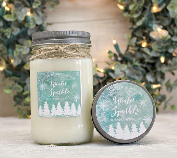 Winter Sparkle Pure Soy Candle / 16 oz candle / 8 oz mason jar