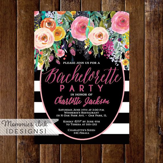 Bachelorette Party Invitation Watercolor Flowers by MommiesInk