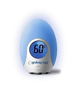 The Grobag Egg Room Thermometer changes colors to indicate the temperature in your baby's room. Plus, it give just enough light to check in without disturbing baby's slumber.