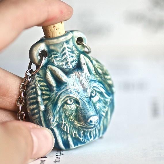 NEW  The Wolfman Necklace  Werewolf Wolf Raku by blackpersimmons, $24.00