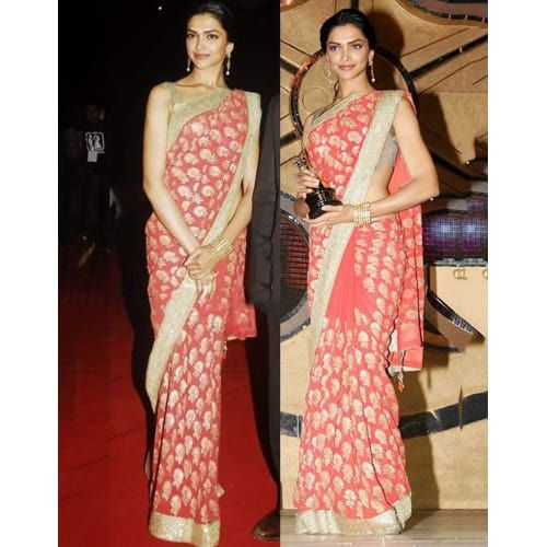 Buy Deepika Padukone Peach Georgette Bollywood saree online in India at discount price from Fatkart.com and get free home delivery.