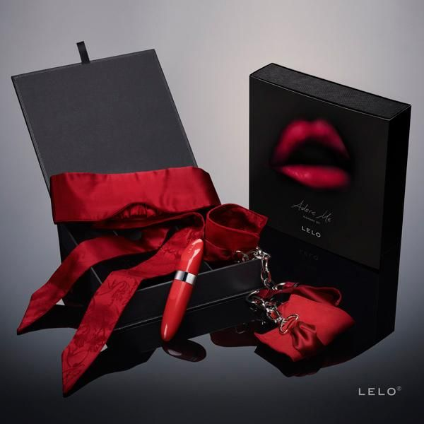 LELO ADORE ME PLEASURE SET.  Treat the one you adore most to a night of pure passion as you indulge in playful restraint with the silk and suede Sutra Chainlink Cuffs, while the Intima Silk Blindfold intensifies your senses for what is to come. Then take pleasures to new heights with LELO's iconic Mia™ 2, a stylish lipstick-vibe that promises the most memorable nights with your partner.  http://www.fiftyshadesofdesire.com/