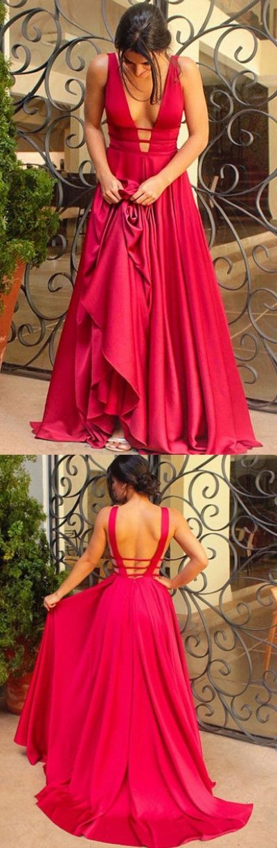 Sweep train Evening Dresses, Red Sweep train Prom Dresses, Sweep train Long Evening Dresses, Sexy A-Line Backless Prom Dresses,Deep V-Neck Long Prom Evening Dress
