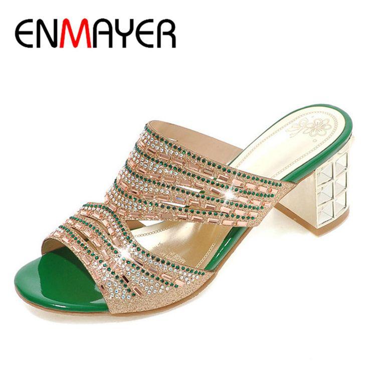 ENMAYER Women Summer Slides Sandals Fashion High Heels Platform Shoes Women  Leisure Peep Toe Pumps Casual