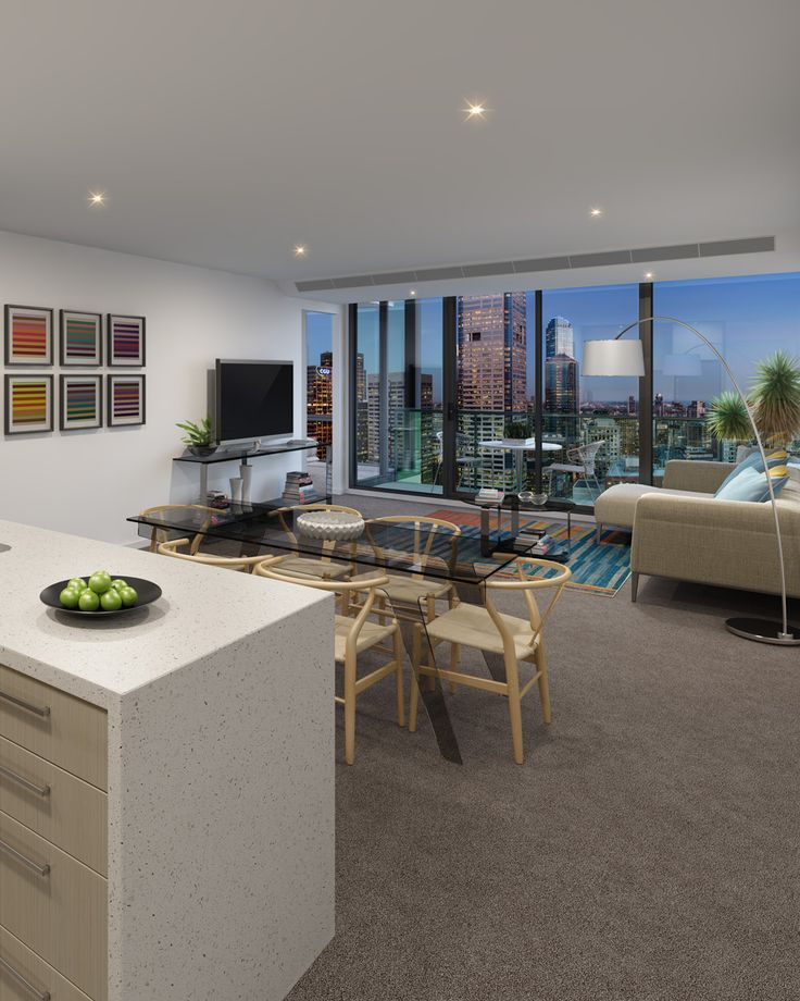 Living room of Melbourne One apartments.