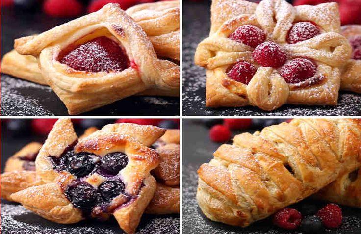 Мы все очень любим пирожки, булочки, ватрушки из слоёного теста. Они всегда хрустящие, вкусные и достаточно легкие. С любой начинкой они хороши. А еще они всегда румяные и красивые!  Мы предлагаем сегодня познакомиться с 4 интересными рецептами начинок для слоек, а также научиться сворачивать их т