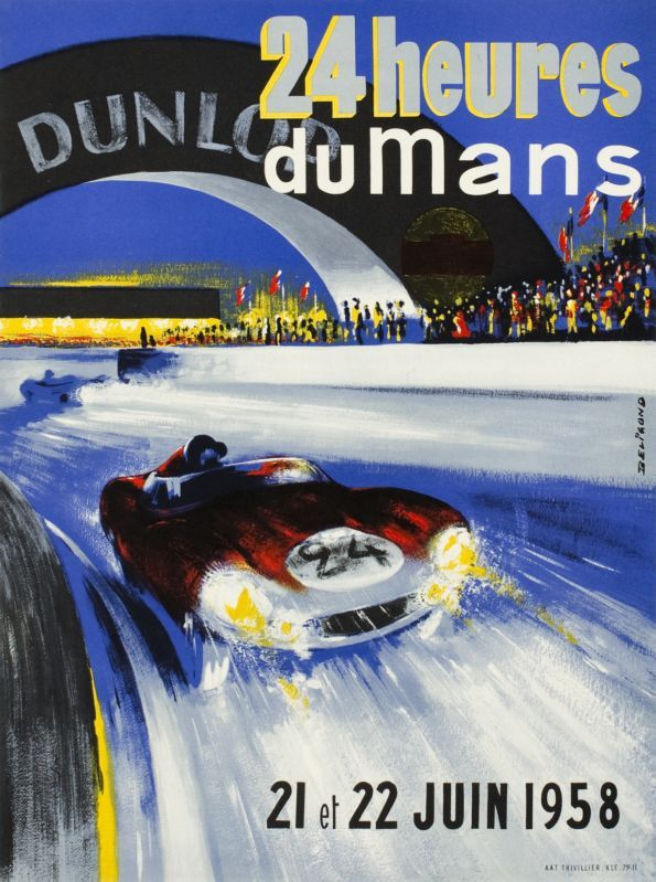 "Le Mans, 24h du Mans, 21 22 Juin 1958 (by Beligond Michel / 1958) ""24 Hours of Le Mans 1958, Worldchampionship"" extremely rare original poster for the world famous car race, in perfect condition."