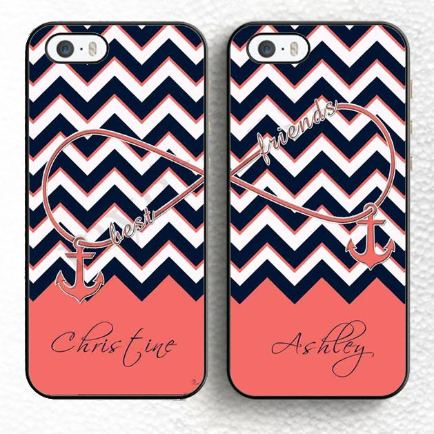 2pcs/lot Best Friends Forever Chevron Infinity Anchor Pink Personalized Soft Phone Case For iPhone 6 6S Plus 5 5S 5C 4S SE Cover Price: USD 7.89 | UnitedStates