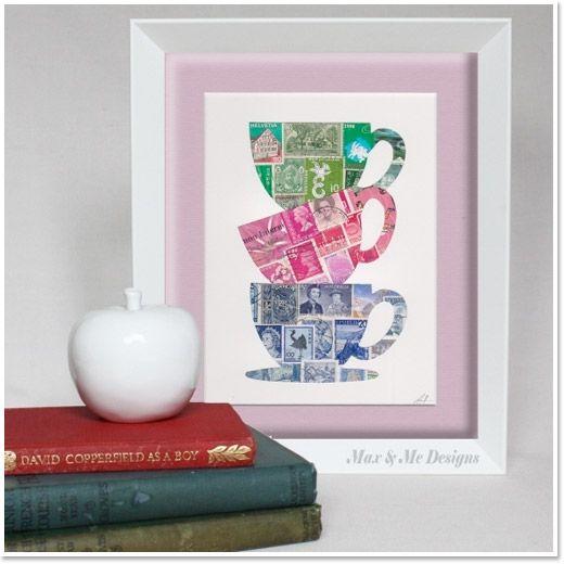 Max & Me Designs Vintage Postage Stamp Art