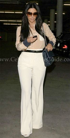 Kim Kardashian Looked Sophisticated And Chic Wearing See By Chloe Color Block Button Down Blouse