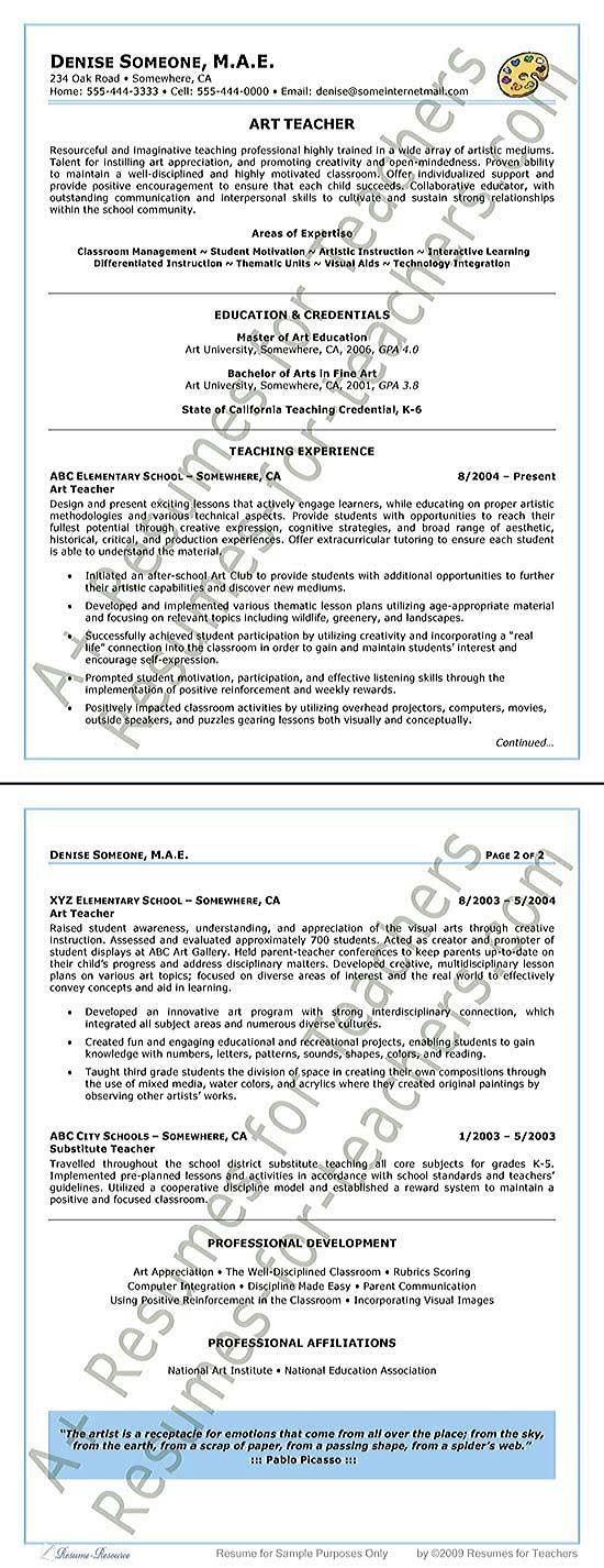Best Art Teacher Resumes Images On   Teacher Resumes