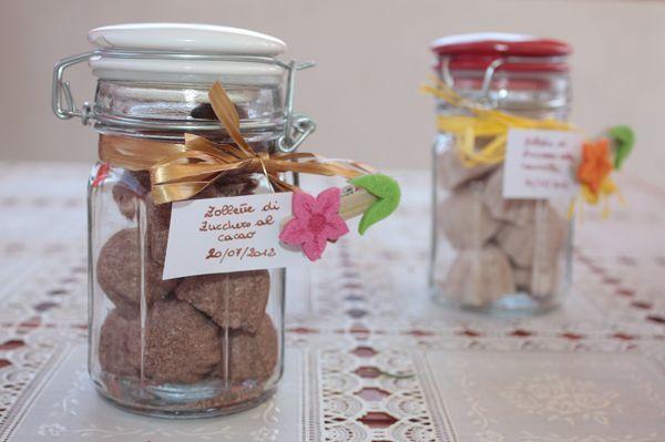 Zollette+di+zucchero+aromatizzate+al+cacao+e+alla+cannella